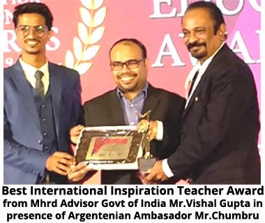 Best International Inspirational Teacher Award