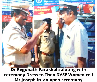 Saluting with ceremony dress